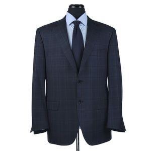 Canali 1934 Wool Sport Coat Blue w/Brown Checks 44